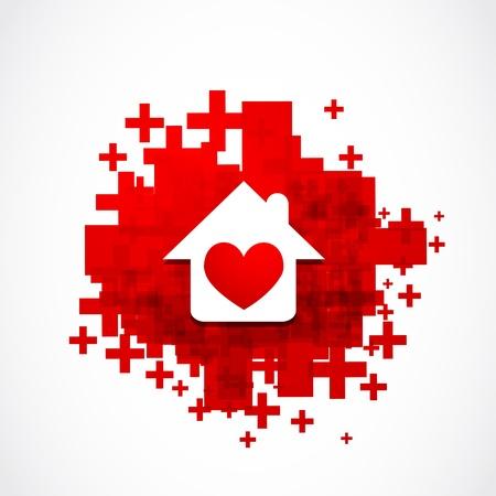 apartment market: Concepto de la casa del coraz�n Vectores