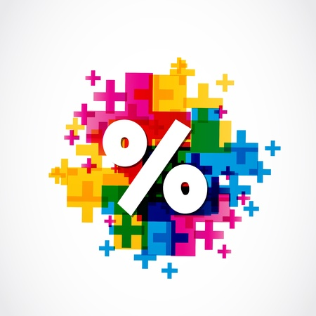 Abstract Colorful Positive Percent Illustration