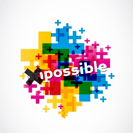 possible: colorful impossible to possible illustration Illustration