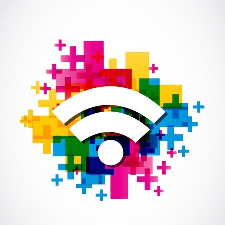 抽象的なカラフルな wifi の図