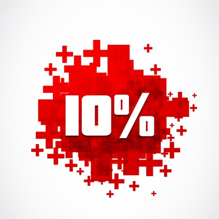 number 10: abstract ten percent off concept
