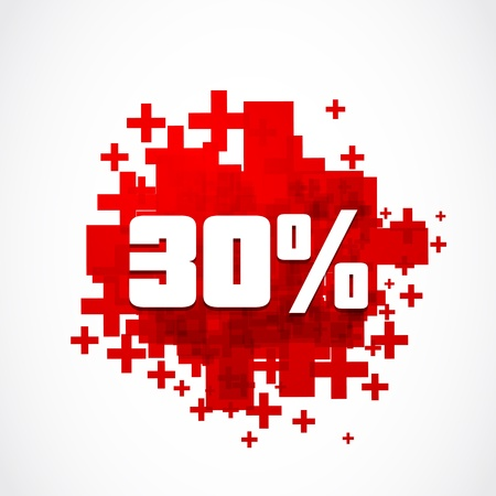percentage sign: 30 percent promotion