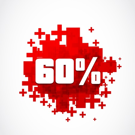 sixty: Sixty percent discount illustration