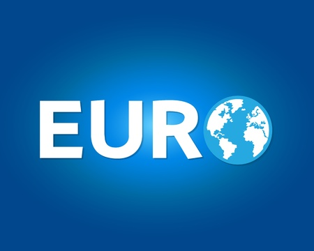 Euro letter with world symbol Vector