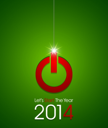 christmas ball power button 2014 Vector
