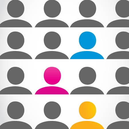 alone in crowd: diversity people concept