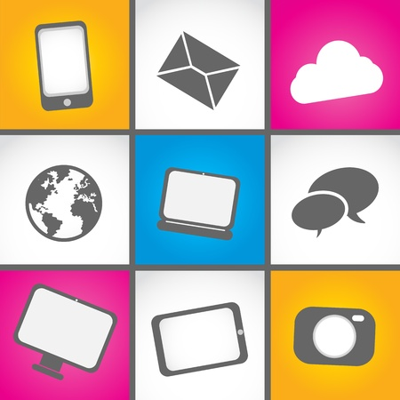 colorful mobile contact icon set Illustration