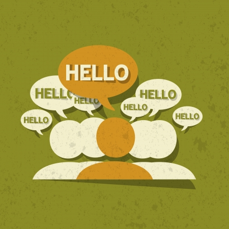 say hello: Hello Group with speech bubbles