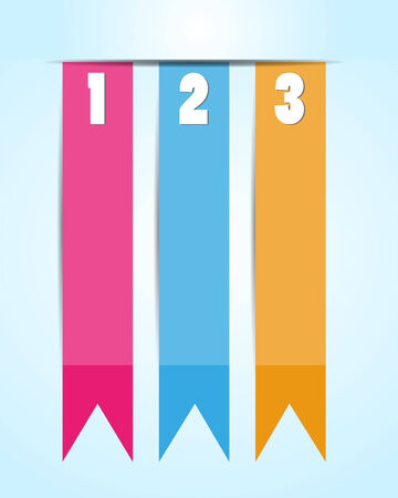 1 2 3 Option banner ribbons Vector