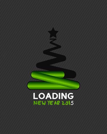 New year 2015 christmas tree loading Vector