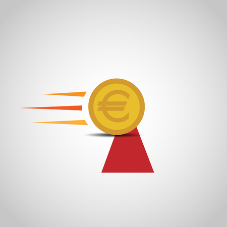 Euro Coin Crossing The Finish Line Illustration