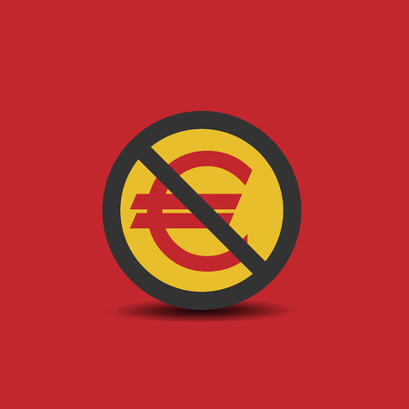 Euro icon with not allowed sign Illustration