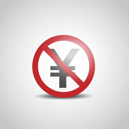 Yen icon with not allowed sign Illustration
