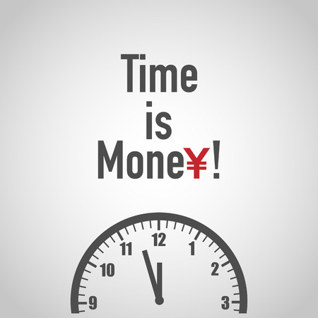 Time is money. Yen Sign with Clock.