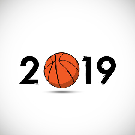2019 basketball tournament with abstract basketball ball Banque d'images - 115846820