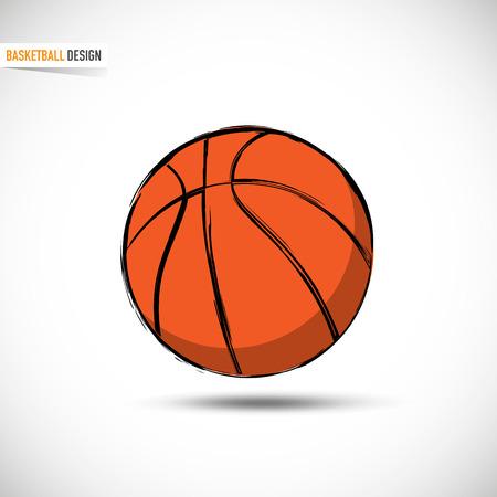 Hand Drawn Orange Basketball Ball Vektorové ilustrace
