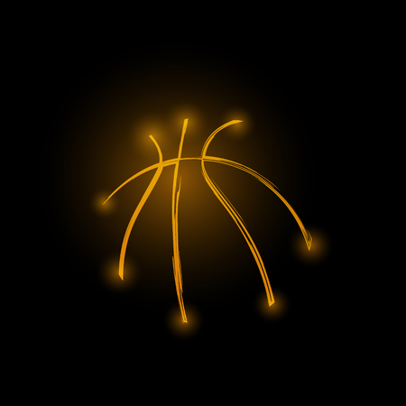 Basketball ball made from glowing lines