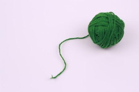 Green wool yarn balls