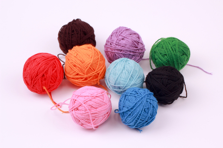 colorful balls of different colors for knitting