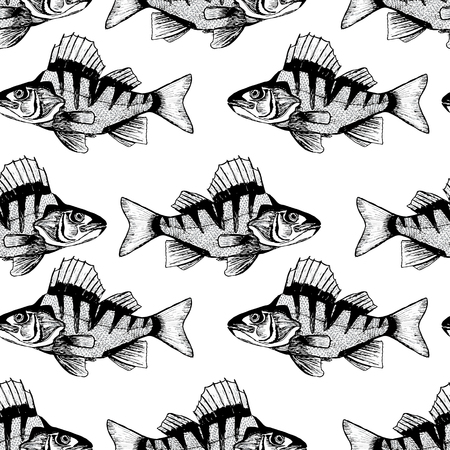 black fish: Pattern with black fish. Stock Photo