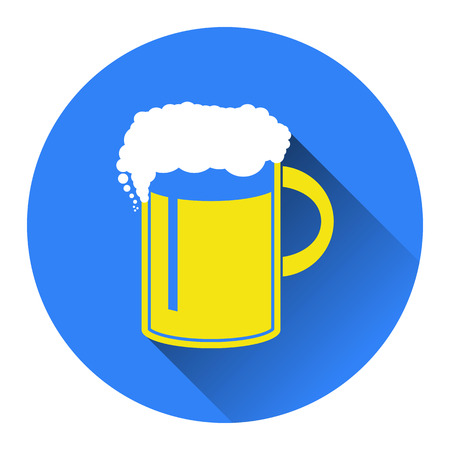 draughts: Vector illustration of beer in mug icon. Flat design style with long shadow.