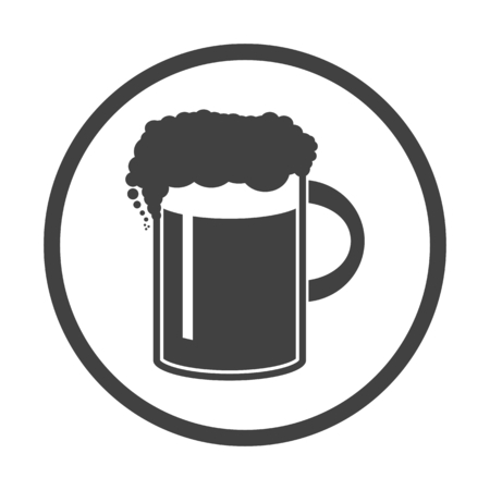 draughts: Vector illustration of beer in mug icon. Simple black on white b
