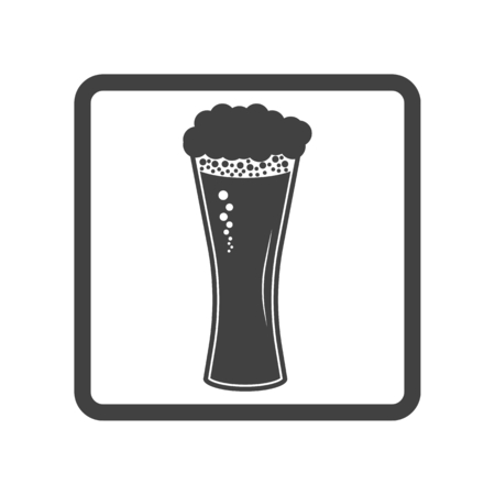 draughts: Vector illustration of beer in glass icon. Simple black on white Illustration