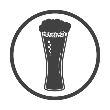 draught: Vector illustration of beer in glass icon. Simple black on white Illustration