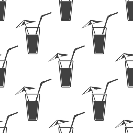 tubule: Vector illustration of alcohol drink icon. Cold summer cocktail with umbrella and tubule in glass. Drink on the beach icon. Seamless pattern.