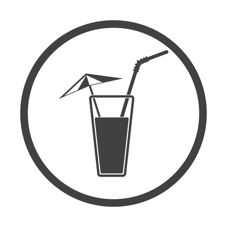 tubule: Vector illustration of alcohol drink icon. Cold summer cocktail with umbrella and tubule in glass. Drink on the beach icon. Black on white background.