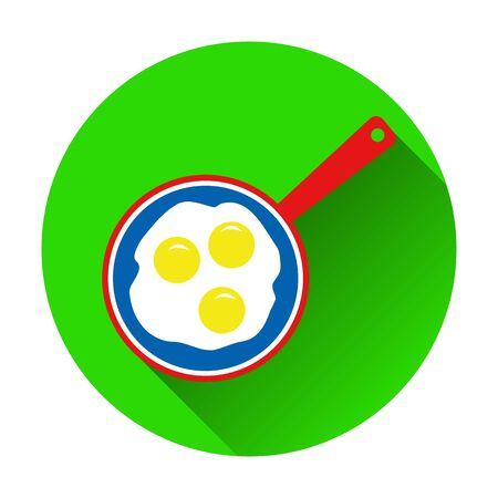 scrambled: Vector illustration of scrambled eggs in skillet icon on white b
