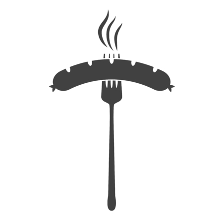 Vector illustration of beer appetizer icon. Sausage and fork on white background.