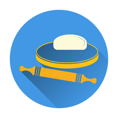 battledore: Vector illustration of dough and rolling pin on a wooden board. Icon on white background. Color flat design with long shadow.