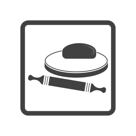 Vector illustration of dough and rolling pin on a wooden board. Icon on white background. Button.