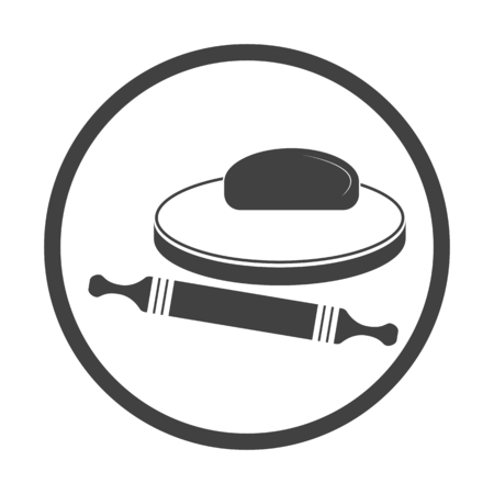 Vector illustration of dough and rolling pin on a wooden board. Icon on white background. Round.