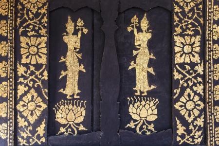 venerable: thai painting on church Stock Photo
