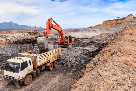open pit lignite mine at mae moh Lampang  Thailand Stock Photo