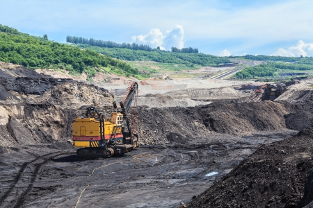 electric shovel in open pit at THAILAND