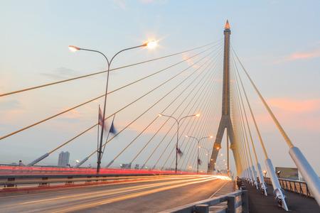 viii: Twilight  at Rama VIII Bridge Bangkok THAILAND