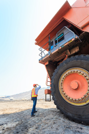 Worker Big Truck in Pit at North of THAILAND photo