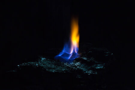 Coal and fire flames Stock Photo