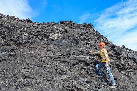 paleontologist: coal geologist at lignite mine North of THAILAND Stock Photo