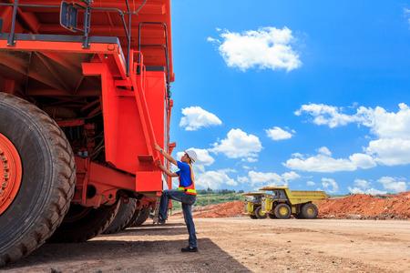 coal mining: Man Big Truck Driver in Open Pit