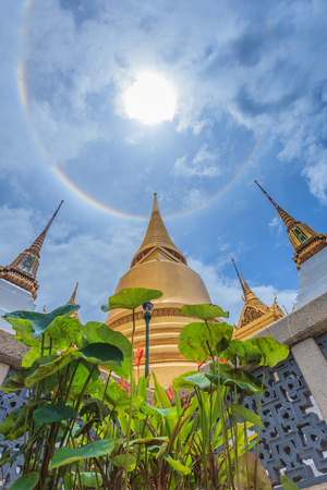 sun halo at  Wat Phra Kaew Bangkok THAILAND Stock Photo