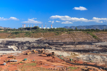 open pit lignite mine at mae-moh Lampang  Thailand Stock Photo