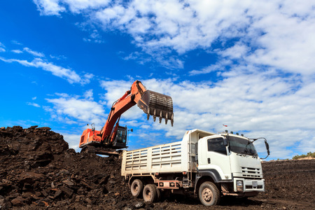 coal mining: Backhole and Coal in Blue Sky