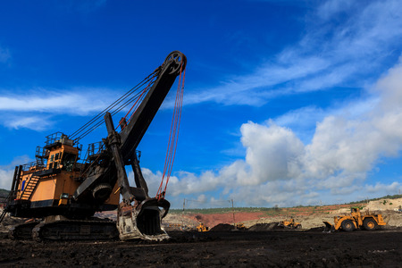 Electric Shovel in Open Pit and blue sky