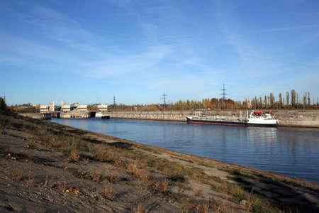 river navigable channel and buildings Banco de Imagens