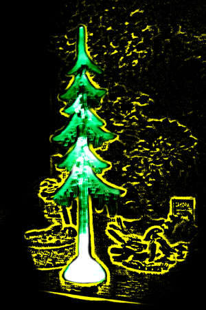 manner: abstract picture decoration in the manner of fir trees