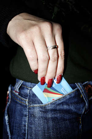 abstract scene hand girls and preparation plastic credits card photo